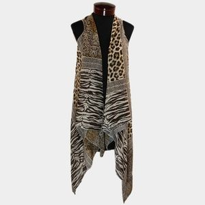 Brown Leopard Print Zebra Flowing Sheer Vest